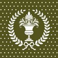 Antique flower vase in a laurel wreath pattern Stock Photography