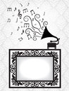 Antique frame and gramophone Royalty Free Stock Images