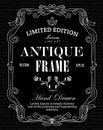 Antique Frame hand drawn label blackboard western vintage Royalty Free Stock Photo