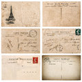 Antique french postcard  with stamp from Paris. Scrapbook elemen Royalty Free Stock Photo