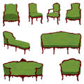 Antique furniture green set Royalty Free Stock Images