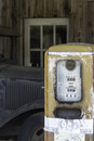 Antique Gasoline Pump and Vintage Truck Stock Photos