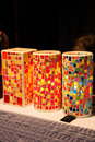 Antique glass mosaic table lamps in shopping window Stock Photography