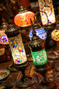 Antique glass mosaic table lamps in shopping window Royalty Free Stock Images