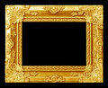 The antique gold frame on the black Royalty Free Stock Photo
