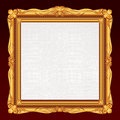 Antique gold frame blank canvas vector illustration Royalty Free Stock Images