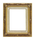 Antique gold frame on white background Royalty Free Stock Image