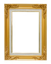 The antique gold vintage frame luxury isolated white background. Royalty Free Stock Photo
