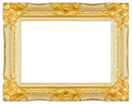 Antique gold and white frame isolated decorative carved wood stand
