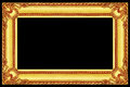 antique gold wooden frame isolated on black Royalty Free Stock Photo