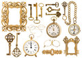 Antique golden accessories. Vintage picture frame clock key Royalty Free Stock Photo