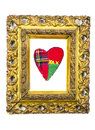 Antique golden art frame with cloth heart isolated Royalty Free Stock Photo