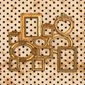 Antique golden framework over vintage polka dot Royalty Free Stock Photo