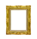 antique golden picture frame isolated on white background,clipping path Royalty Free Stock Photo