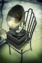 Antique gramophone with horn speaker for sale istanbul turkey Royalty Free Stock Photography