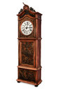 Antique grandfather clock elegant wood carved decoration isolated Royalty Free Stock Image