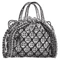 Antique hand bag purse  illustration. Royalty Free Stock Photos