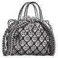 Antique hand bag purse illustration.