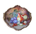 Antique hand painted platter isolated. Royalty Free Stock Photo