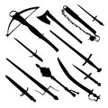 Antique hand weapons set of medieval silhouette of sword dagger mace axe crossbow flail Stock Photography