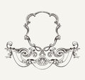 Antique high ornate frame and banner luxury Stock Image