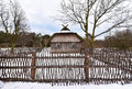 Antique homestead lithuania winter scene of an old wooden house in a countryside traditional lithuanian Royalty Free Stock Image
