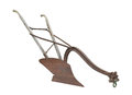 Antique horse drawn plow isolated.