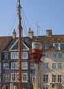 Antique house and old ship moored in Nyhavn, Copenhagen l Royalty Free Stock Photo