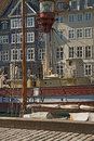 Antique house and old ship moored in Nyhavn, famous Copenhagen l Royalty Free Stock Photo