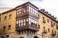 Antique house with wooden balcony in bilbao spain Royalty Free Stock Image