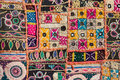 Antique indian stitched fabric pattern patchwork carpet in rajasthan asia Stock Photo