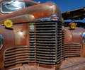 Antique international truck an hood and grill located in jerome arizona Stock Image