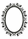Antique iron mirror frame with flora decoration isolated Stock Images