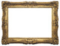 Antique isolated picture frame gold baroque on white background Stock Photos