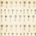Antique key pattern background with ledger paper Royalty Free Stock Photo