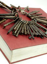 Antique Keys On A Red Book Royalty Free Stock Photography
