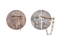 Antique keys in vintage style isolated on white background Royalty Free Stock Images