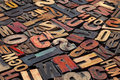 Antique letterpress printing blocks Stock Photo