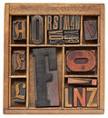 Antique letters in wooden box Stock Images