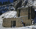 Antique lime kilns in helena montana still standing winter scene with snow Stock Photography