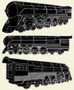 Antique Locomotive Vector 01 Stock Photos