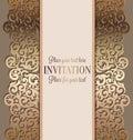 Antique luxury wedding invitation, gold on beige