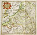Antique map of belgium and netherlands old at the time the creation was a part the engraved by Royalty Free Stock Photos