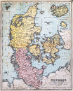 Antique map of denmark victorian era originally published in Royalty Free Stock Image