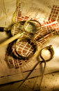 Antique map and magnifying glasses Royalty Free Stock Photos