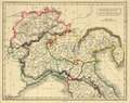 Antique Map of Northern Italy Stock Image