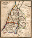 Antique Map of Old Israel Stock Images
