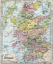 Antique Map of Scotland Royalty Free Stock Photo