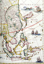 Antique map, southeast asia region Royalty Free Stock Photo