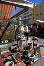 Antique market in nice france may the cours saleya at the french riviera famous of every monday at may a huge variety Royalty Free Stock Image